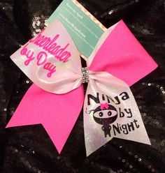Bows by April - Cheerleader by Day Ninja By Night Neon Pink and White Glitter Cheer Bow, $20.00 (http://www.bowsbyapril.com/cheerleader-by-day-ninja-by-night-neon-pink-and-white-glitter-cheer-bow/)