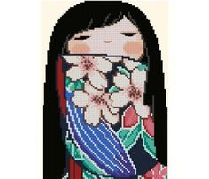 Japanese+Kokeshi+Doll+1++SAKURA+by+CrossStitchRinna+on+Etsy