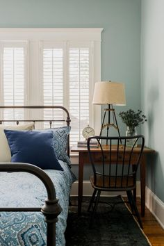 Bedroom window...shutters...headboard