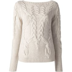 HALSTON HERITAGE chunky wool sweater (570 CAD) ❤ liked on Polyvore featuring tops, sweaters, shirts, jumpers, wool shirt, chunky cable knit sweater, long sleeve shirts, ribbed sweater and cable sweater