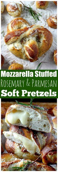 Mozzarella Stuffed Rosemary & Parmesan Stuffed Soft Pretzels
