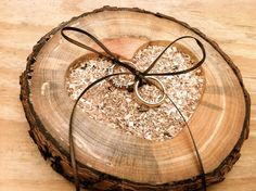 Rustic wedding ring holder wooden bearer pillow by MomoRadRose, $28.00