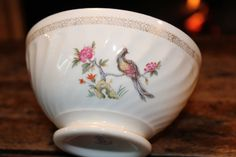 French vintage Breakfast Exotic Bird porcelain Bowl by frenchvintagetreasur on Etsy