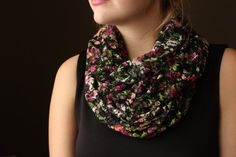Black Lace Circle Scarf with Flower Pattern Infinity by slyscarves, $30.00