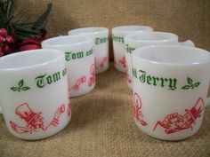 RARE Vintage 1950's Tom and Jerry Beverage Mugs by TKSPRINGTHINGS