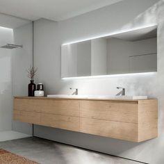 Doppel-Waschtischunterschrank / Holzfurnier / HPL / Glas CUBIK IDEAGROUP