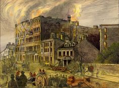 Historic photo from Wednesday, November 1862 - Rossin House fire - watercolour from the Canadian illustrated news, Hamilton, no. 2 in Financial District Reading Festival, 22 November, Guernica, Digital Archives, House Illustration, York Street, Historical Photos, Picture Show