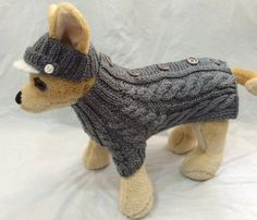 Pet Clothes for Dog Spring Outfit  Sweater and Visor Hat Handmade Knit XS Size