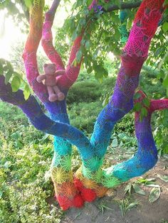 Crochet-Bombed Tree; see more views and other awesome crochet art by babukatorium in link below.