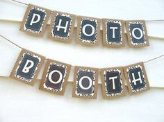 Wedding Garland PHOTO BOOTH Wedding Banner, Rustic Chic Reception Sign - I could make something like this with my silhouette Wedding Bunting, Garland Wedding, Diy Wedding, Dream Wedding, Wedding Ideas, Diy Photo Booth, Wedding Photo Booth, Photo Booth Backdrop, Photo Booths