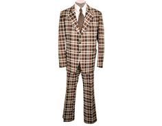 Vintage 70s Mens Suit Plaid Polyester Size by CoolFoolVintage