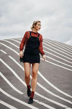 Superkilen | Fashion Blog from Germany / Modeblog aus Deutschland, Berlin. Maroon blouse+black overall dress+maroon socks+black slippers+black shoulder bag. Fall outfit 2016