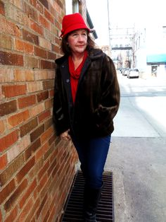Faux-fur reversible jacket with red hat