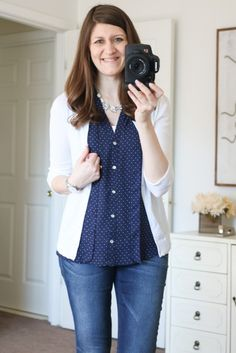 Love this look: Ramos Tie Neck Blouse from Alice Blue & Jaclynn 3/4-Sleeve Button-Up Cardigan from Mak - April Stitch Fix