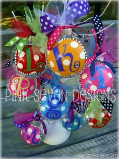 Adorable Glitter Monogram Ornaments - Red and Green. these are darling!