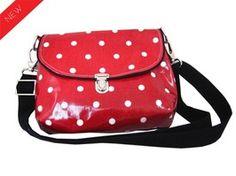 joli sac en toile cirée rouge à pois blanc