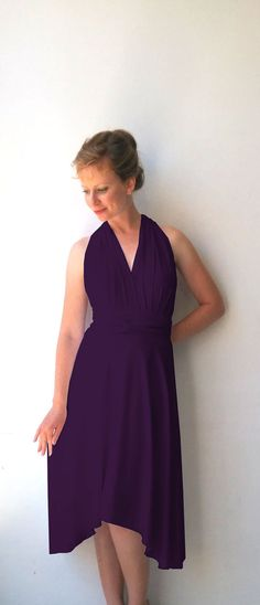 Tailored to Size & Length Bridesmaids dress in plum purple  color with asymmetric hem cocktail-length dress Multiway Dress wrap dress