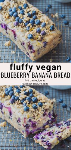 This Vegan Blueberry Banana Bread is topped with a sugar glaze and streusel topping. It has the perfect amount of sweetness and is fluffy in the inside. Keto Banana Bread, Blueberry Banana Bread, Vegan Bread, Banana Bread Recipes, Healthy Vegan Desserts, Vegan Dessert Recipes, Vegan Sweets, Paleo, Healthy Blueberry Desserts