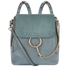 Chloé Medium Faye Backpack ($1,645) ❤ liked on Polyvore featuring bags, backpacks, expandable backpack, expandable bag, day pack backpack, chloe bag and chain bag