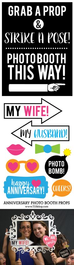 Printable Anniversary Photo Booth Props - 15 props plus a fun photo booth sign - All for FREE!