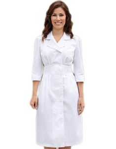 Barco Prima Two Pockets White Embroidered Nurses Dress (This item is out of stock at this time)
