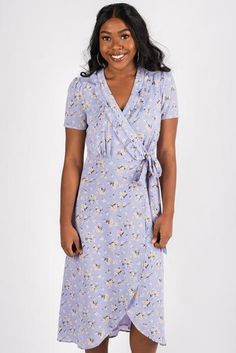 de95121af138 Ruffle neckline floral print midi dress lavender. Trendy St Patrick's Day  outfit at Lush Fashion Lounge ...
