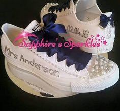 SapphiresSparkles Wedding Navy Blue White Pearl + Crystal Mono All ...