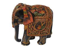 Beautiful Wood Elephant Figurine Carved Statue Handmade Painted Sculpture India