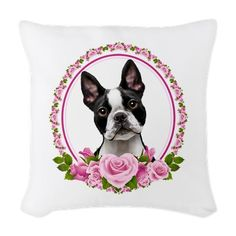 Boston Terrier Pink Roses pillow, on www.doggination.com