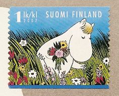 moomin picking flowers for his mum:) Illustrations, Illustration Art, Moomin Valley, Tove Jansson, Lappland, Mail Art, Stamp Collecting, Postage Stamps, Troll