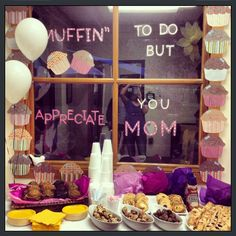 """Muffin to do but Appreciate You, Mom!"" In honor of Mother's Day this weekend, we hosted Muffins for Mom this morning. As the children came in with their moms, they got to pick out a few breakfast treats to bring to their classrooms and enjoy!"