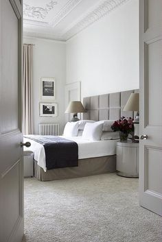 "Opt for Carpet - ""For anything but a beach house — where wood floors are fine — you should have wall-to-wall carpeting in the bedroom,"" says Harry Heissmann of Albert Hadley Inc. This London bedroom showcases how luxe the look can be. Home, Perfect Bedroom, Bedroom Interior, Bedroom Hotel, Bedroom Inspirations, London Bedroom, Modern Bedroom, Bedroom Carpet, Luxury Rooms"
