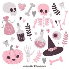 Lovely variety of halloween elements Free Vector Halloween Rose, Halloween Orange, Chat Halloween, Halloween Mignon, Disney Halloween, Halloween Inspo, Halloween Banner, Halloween Clipart, Halloween Patterns