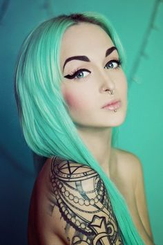 Today we have a collection of Amazing Pastel Hair Color Ideas for and flaunt the beautiful hair. Pastel Green Hair, Mint Hair, Green Hair Colors, Teal Hair, Turquoise Hair, Hair Colour, Coloured Hair, Dye My Hair, Mermaid Hair