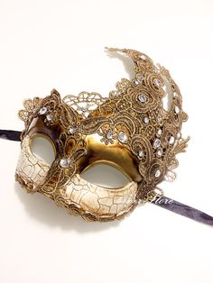Venetian Goddess Golden Bronze Masquerade Mask Made of Resin, Paper Mache Technique with High Fashion Macrame Lace