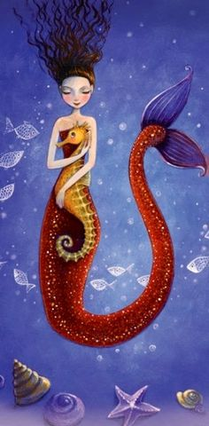 Mermaid hugging sea horse artist Illustration by Mila Marquis Mermaid Fairy, Mermaid Tale, Dark Mermaid, Mythical Creatures, Sea Creatures, Arte Sketchbook, Mermaids And Mermen, Paintings Of Mermaids, Fantasy Mermaids