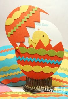 Easter card ... egg shaped ... swing top opening ... punch art chick inside ... bright and pretty for spring ...