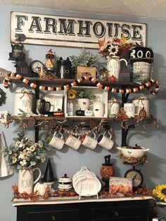 Fall and Halloween Decor Rae Dunn Farmhouse Halloween, Halloween Home Decor, Diy Halloween Decorations, Halloween House, Fall Home Decor, Holidays Halloween, Thanksgiving Decorations, Halloween Diy, Seasonal Decor
