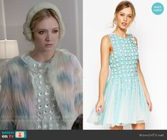 Chanel 3's floral embellished dress on Scream Queens.  Outfit Details: http://wornontv.net/52216/ #ScreamQueens