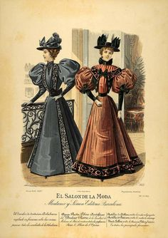 1895 Lithograph Victorian Lady Fall Dress Hats Costume Womens Fashion SPF1 #Antique ~ Mourning dress