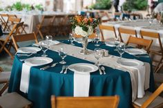 Beautiful teal table, thinking maybe do this but blue with the center strip silver Dark Teal Weddings, Teal And Grey Wedding, Turquoise Weddings, Teal Wedding Decorations, Wedding Colors, Wedding Arrangements, Wedding Table Settings, Wedding Tables, Place Settings