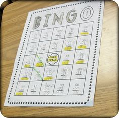 Subtraction Bingo from Step into 2nd Grade with Mrs. Lemons website - doesn't contain a template so would have to recreate.