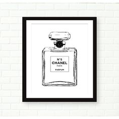Chanel Bottle Print, Chanel no 5 Poster, Fashion Print, Black And... (8.73 CAD) ❤ liked on Polyvore featuring home, home decor, wall art, chanel, french posters, black and white wall art, black white poster and french wall art