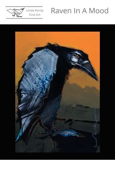 """Grouchy Raven painting in black, orange and blue. Acrylic on panel 8"""" x 6"""" Raven, Abstract Art, Artsy, Paintings, Watercolor, Fine Art, Things To Sell, Orange, Artwork"""