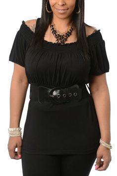 DHStyles Women's Plus Size Trendy Chic Off Shoulder Knit Top with Belt-1X - Black DHStyles http://www.amazon.com/dp/B00IPB2MWA/ref=cm_sw_r_pi_dp_NSuWtb0K9S9CSATP