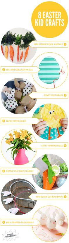 8 Easter Crafts for Kids via @PagingSupermom.com.com #kidscrafts #easter