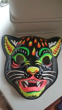 Vintage Ben Cooper CAT Halloween Mask #BenCooper #Halloween Halloween Masks, Cats, Vintage, Gatos, Vintage Comics, Cat, Kitty, Kitty Cats