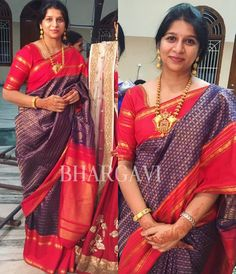 Gorgeous Sirisha looks beautiful in one of our favorite Kanjeevarams.she reminds me of the women of Raja Ravi Varmas paintings. Indian Beauty Saree, Indian Sarees, Silk Sarees, Saree Jewellery, Gold Jewellery, Baby Girl Dress Patterns, Stylish Blouse Design, Silk Saree Blouse Designs, Diana