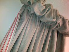 Puff ball curtains, Ian Mankin fabrics, Elaine Johnson Interiors
