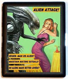 Funny Alien Cigarette Case Retro Sexy Humor by sweetheartsinner